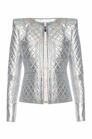 Holographical quilted jacket od Balmain