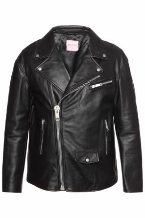 Leather biker jacket od Palm Angels