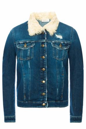 Fur collar denim jacket od Valentino Red