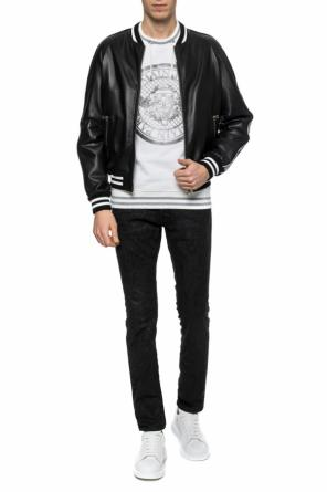 Branded leather jacket od Balmain
