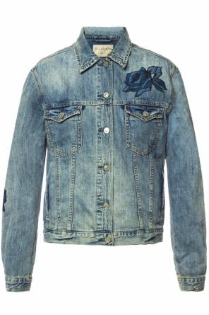 'rose' floral motif denim jacket od AllSaints