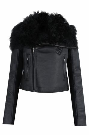Fur trim leather jacket od Rick Owens