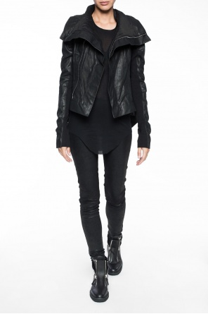 Asymmetrical leather jacket od Rick Owens