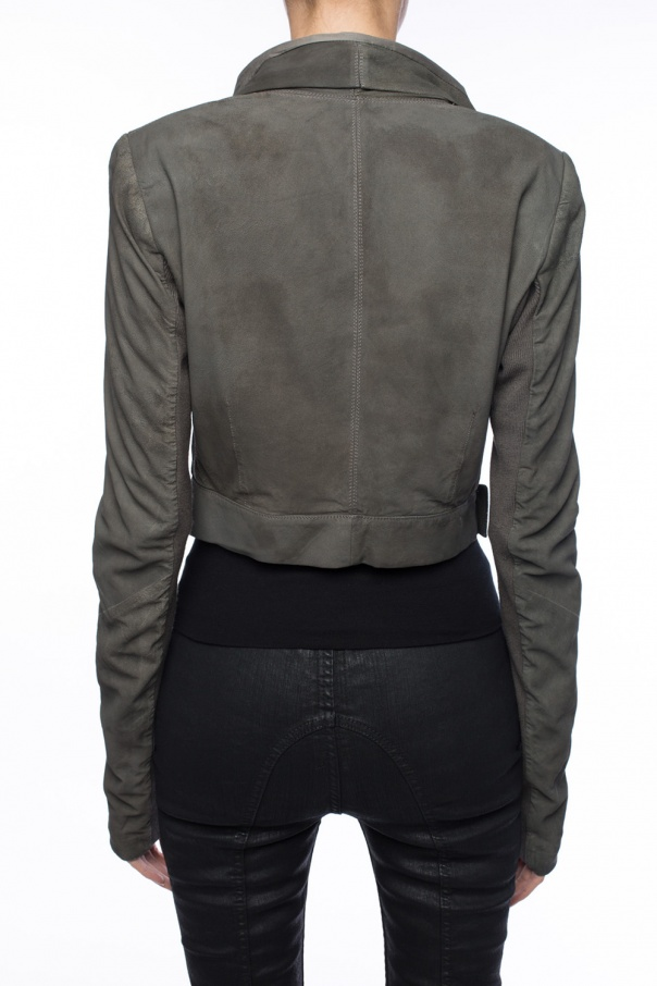 Cropped suede jacket od Rick Owens