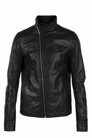 Band collar leather jacket od Rick Owens