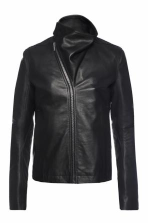 Asymmetric fastening leather jacket od Rick Owens