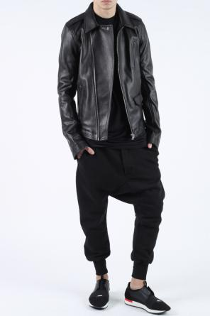 Leather jacket with epaulettes od Rick Owens