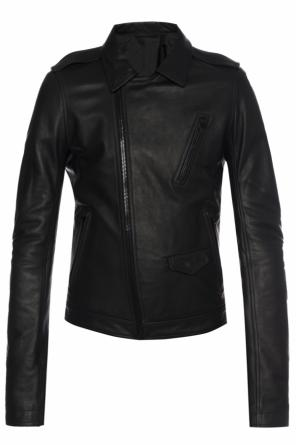 Leather jacket with epaulets od Rick Owens