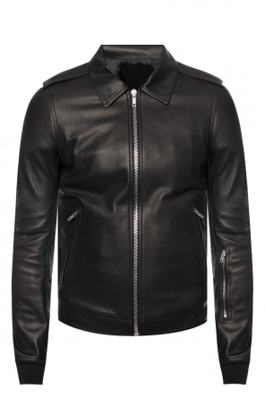 Leather jacket with classic collar od Rick Owens