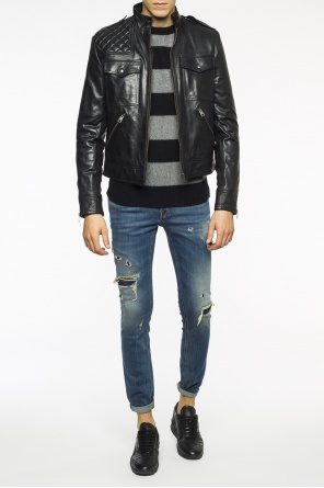 Band collar leather jacket od Just Cavalli