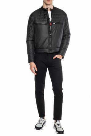 Logo-embroidered quilted down jacket od Just Cavalli