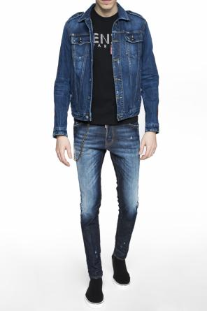 Denim jacket with stitched stripes od Dsquared2