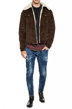 Fur-trimmed corduroy jacket od Dsquared2