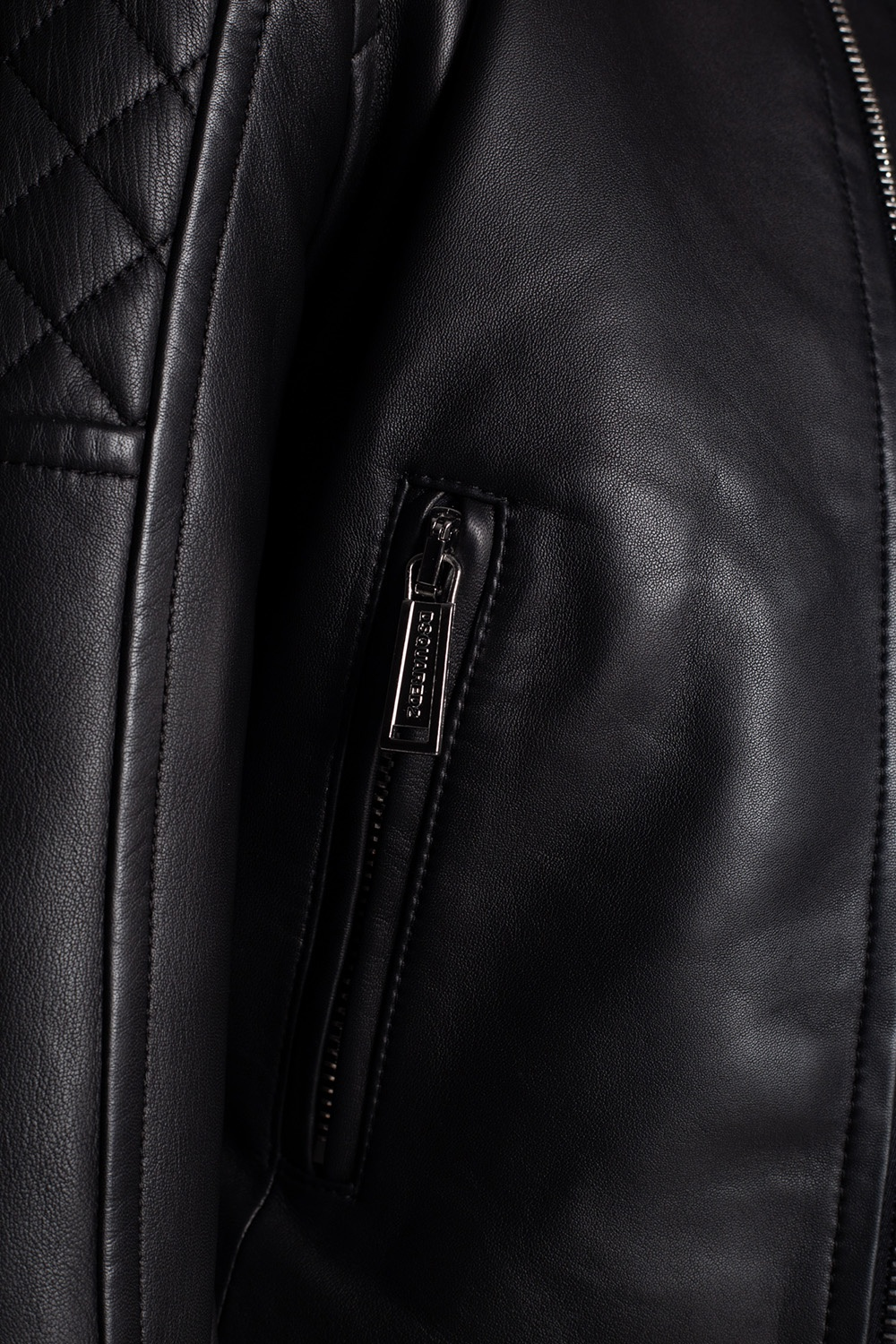 Dsquared2 Leather jacket with stitching details