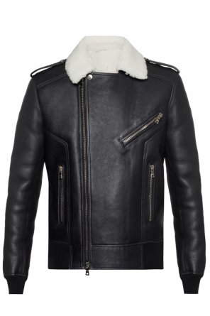 Leather jacket with fur trim od Balmain