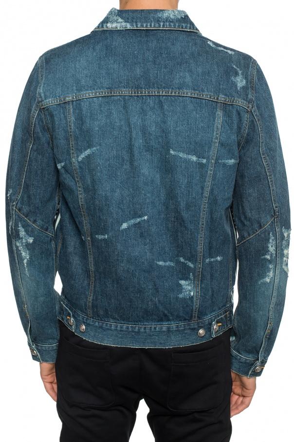Balmain Kurtka jeansowa z przetarciami 3J6fwVGd