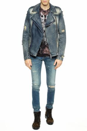 Distressed denim jacket od Balmain