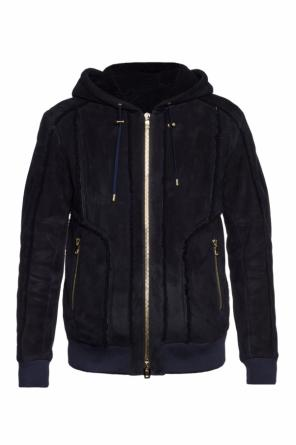 Hooded shearling jacket od Balmain