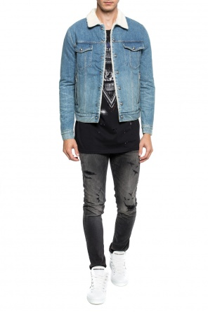 Shearling denim jacket od Balmain