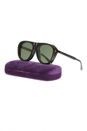 Clip-on aviator sunglasses od Gucci
