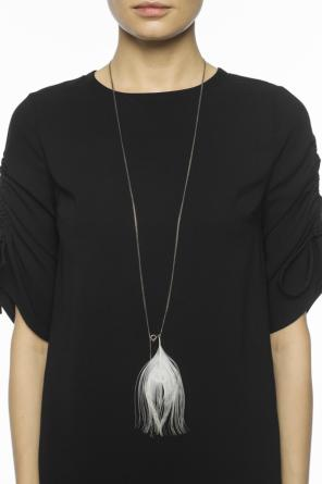 Peacock feather silver necklace od Ann Demeulemeester