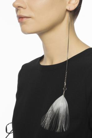 Peacock feather silver earrings od Ann Demeulemeester