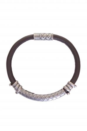 Silver detail leather bracelet od Bottega Veneta