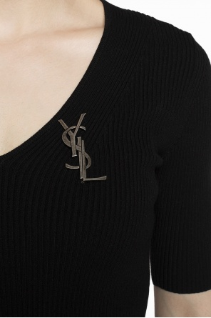 Logo brooch od Saint Laurent Paris