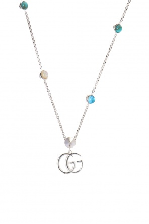 Necklace with a logo and stones od Gucci