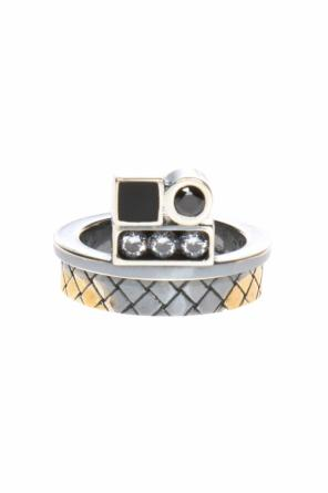 Silver ring with crystals od Bottega Veneta