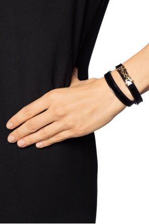 Double bracelet with metal logo od Saint Laurent