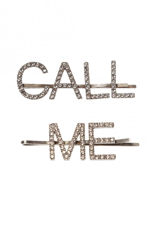 Two embellished hair slides od Saint Laurent