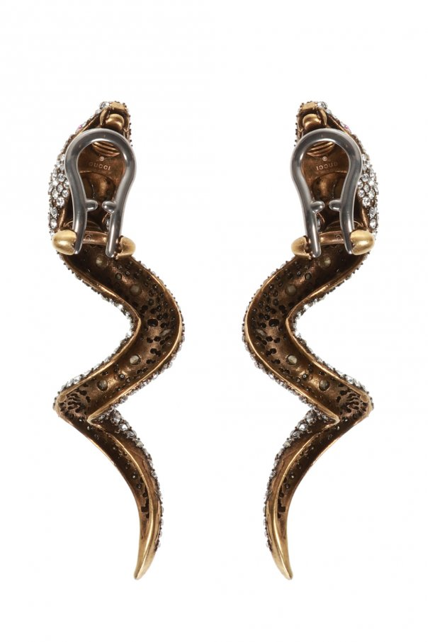 Snake motif clip-on earrings od Gucci