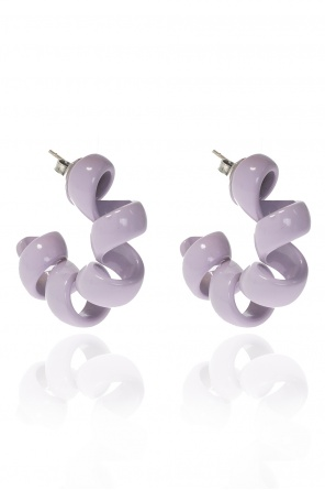 Enamelled silver earrings od Bottega Veneta