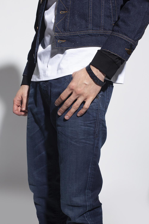 Diesel Leather bracelet with logo