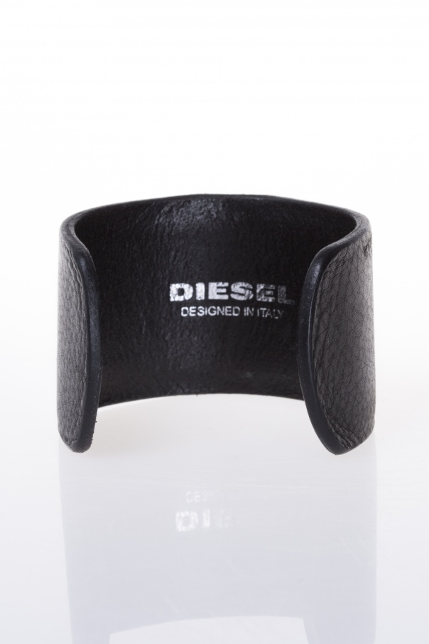 Metal details leather bracelet od Diesel
