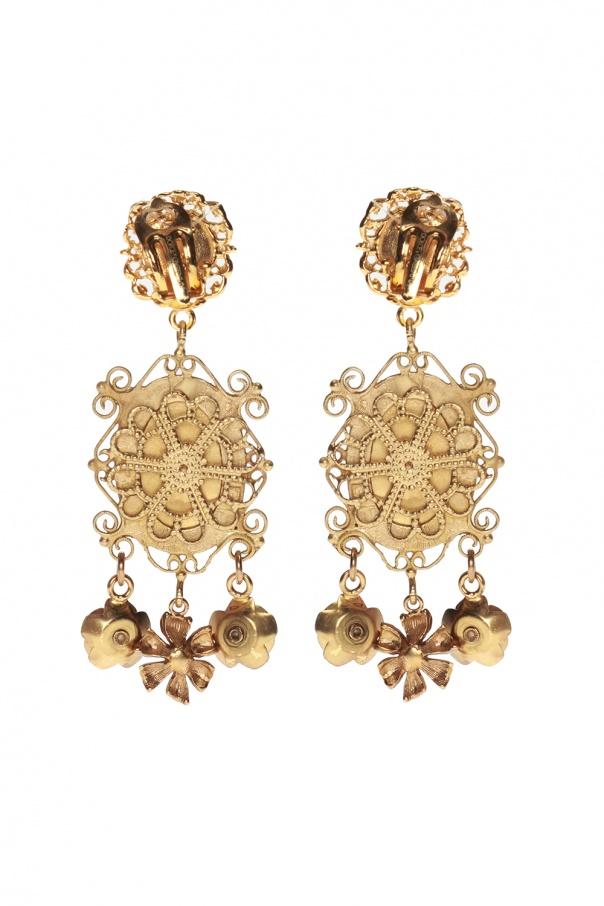 Floral motif clip-on earrings od Dolce & Gabbana