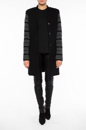 Coat with patterned sleeves od Sonia Rykiel