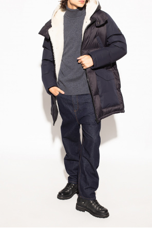 Down jacket with leather insert od Yves Salomon