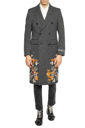 Embroidered herringbone coat od Gucci