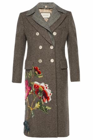Appliqued patterned coat od Gucci