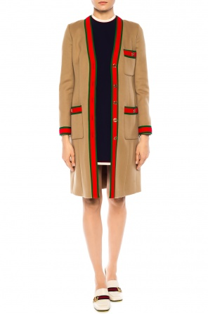 'web' striped woolen cloak od Gucci