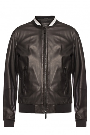 Leather jacket with logo od Emporio Armani
