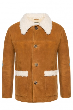 Shearling jacket with a sewn on application od Gucci