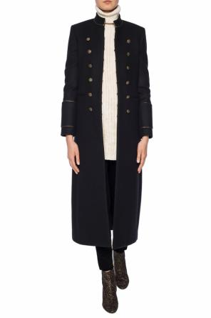 Wool coat with band collar od Saint Laurent