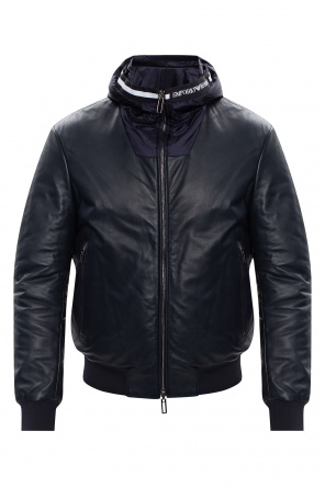 Hooded leather jacket od Emporio Armani
