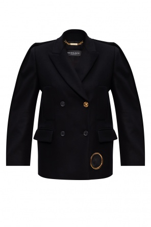 Wool coat with notched lapels od Versace