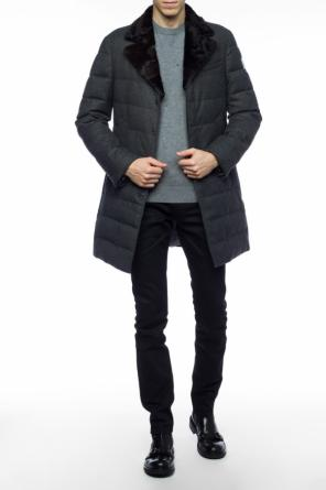Fur collar down coat od Moncler