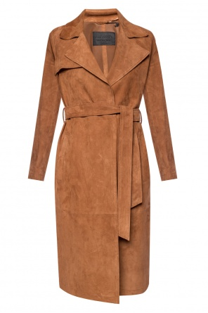 'ember' suede trench coat od AllSaints