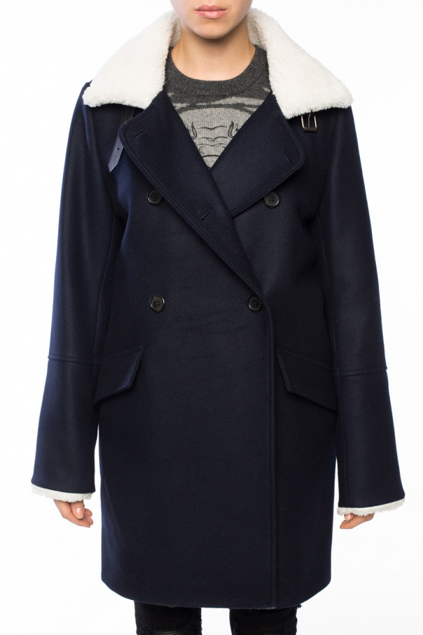Fur-trimmed double-breasted coat od Kenzo